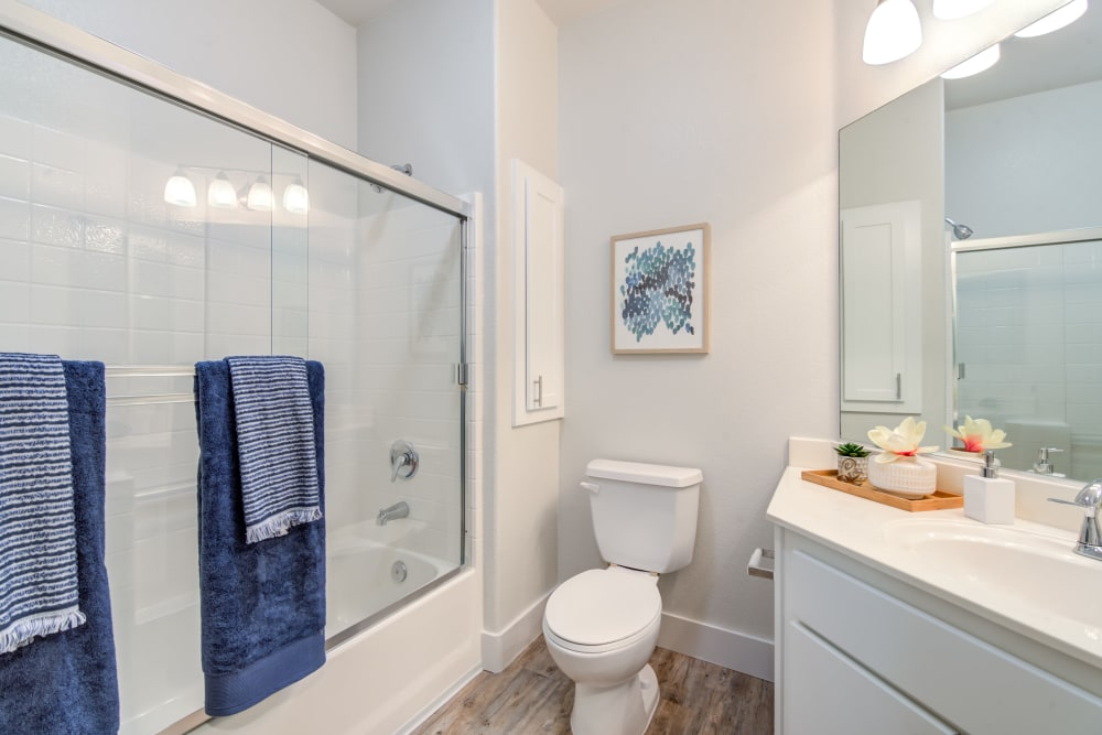 Large bathroom with an oval tub at Sofi Shadowridge in Vista, California