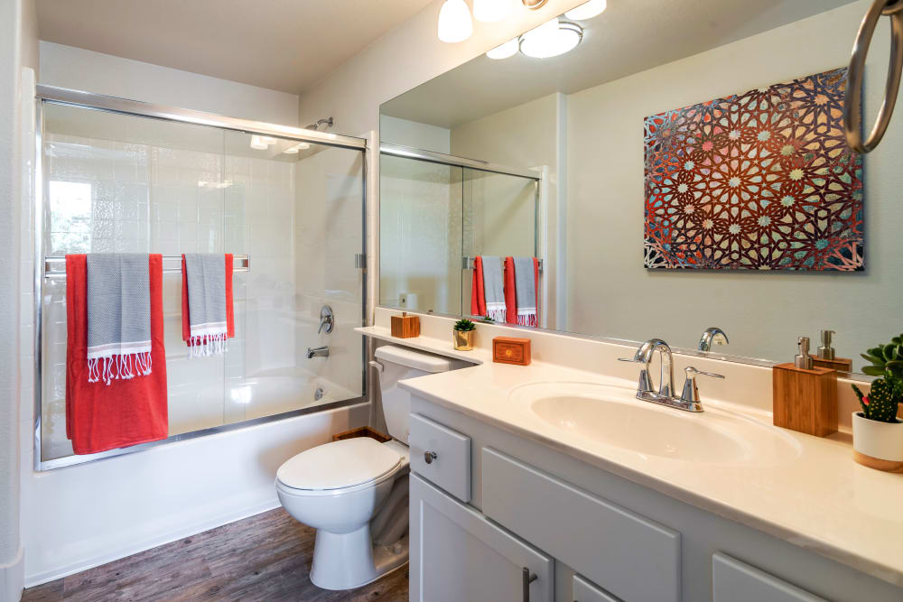 Bathroom with a large vanity mirror at Sofi Shadowridge in Vista, California
