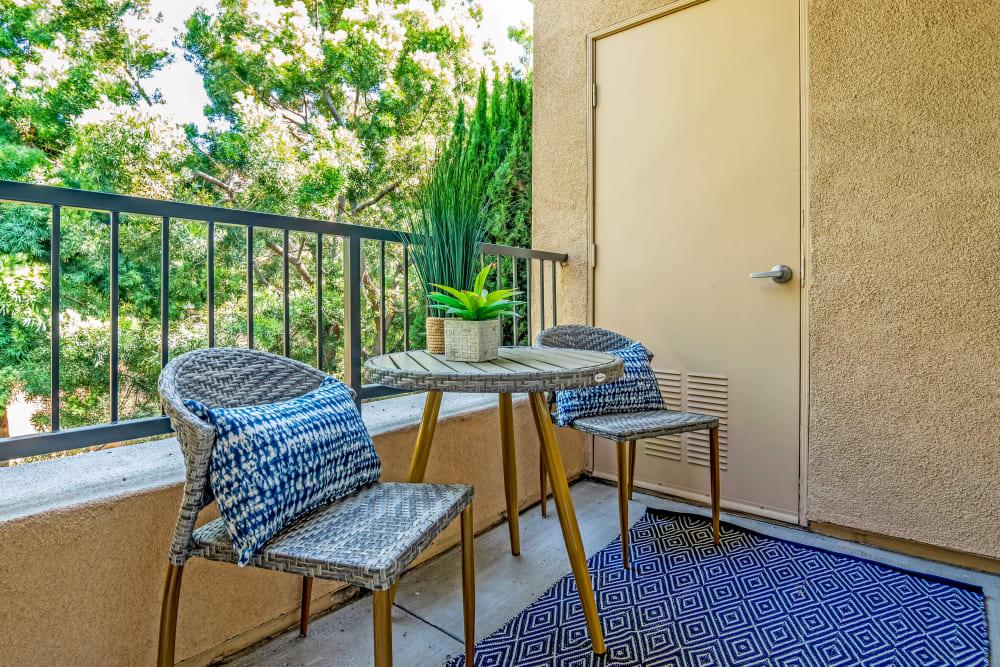 Back patio overlooking the manicured landscape at Sofi Shadowridge in Vista, California