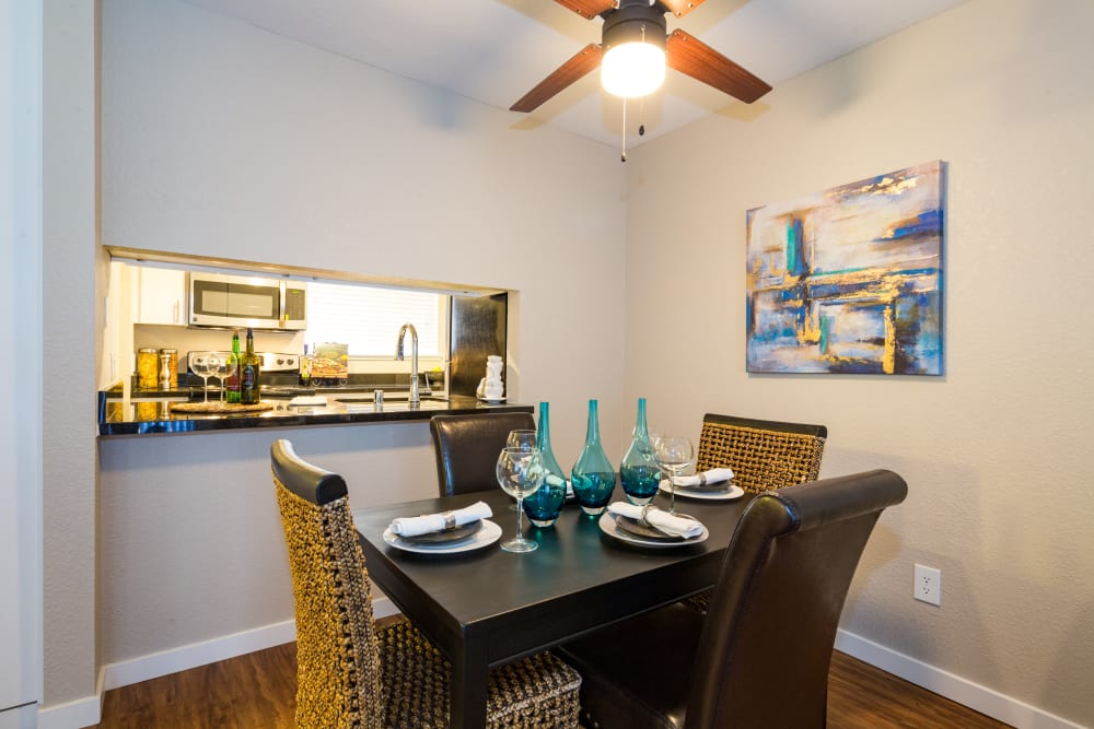 Dining room with a ceiling fan at Haven Martinez in Martinez, California