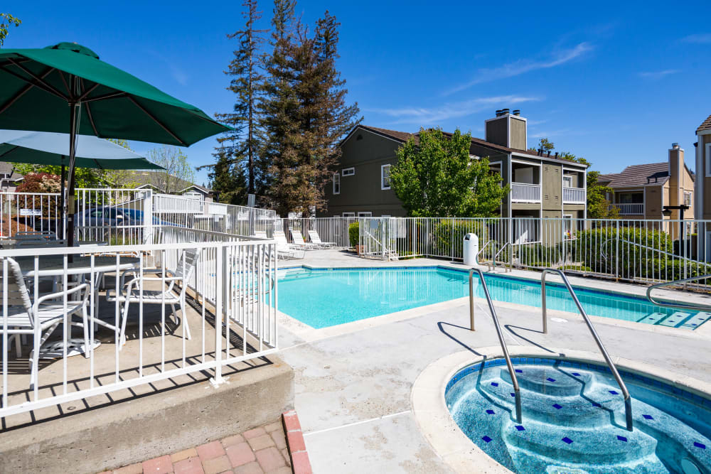 Swimming pool with sundeck and lounge chairs at Haven Martinez in Martinez, California