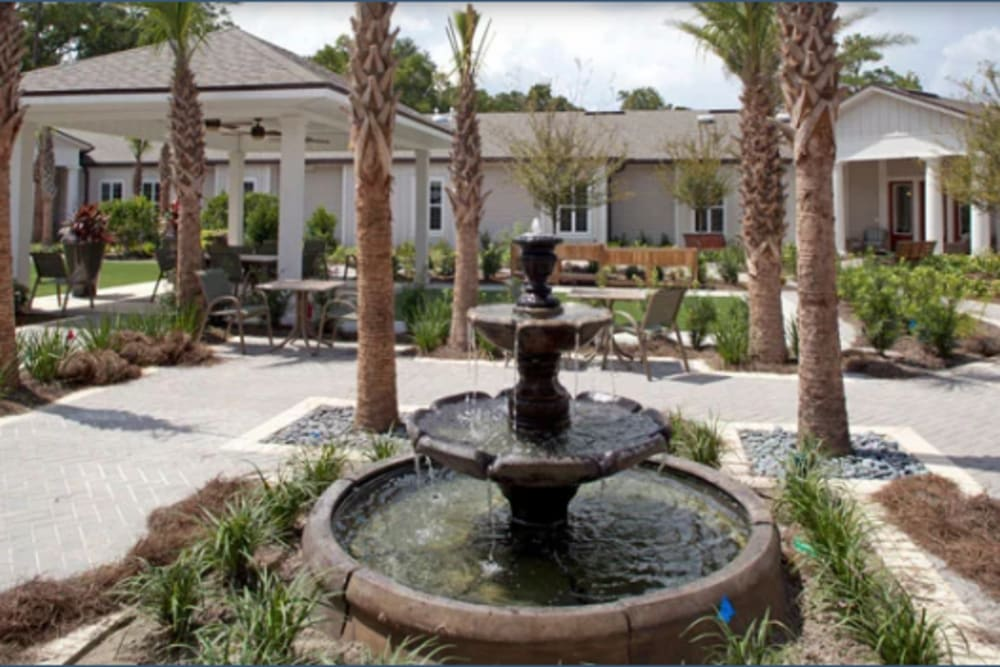 A water fountain in the center of the courtyard at Ortega Gardens Alzheimer's Special Care Center in Jacksonville, Florida