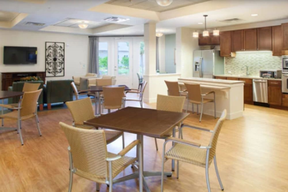 The community dining room at Ortega Gardens Alzheimer's Special Care Center in Jacksonville, Florida