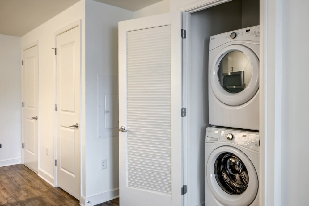 Stacked washer and dryer at Harlow in Washington, District of Columbia