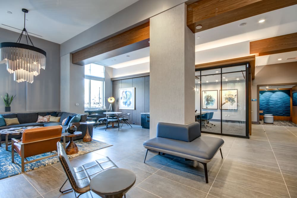 Resident lounge with plenty of seating for entertaining guests  at Harlow in Washington, District of Columbia