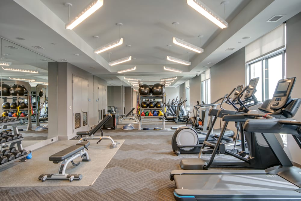 Fitness gym with plenty of individual workout stations at Harlow in Washington, District of Columbia