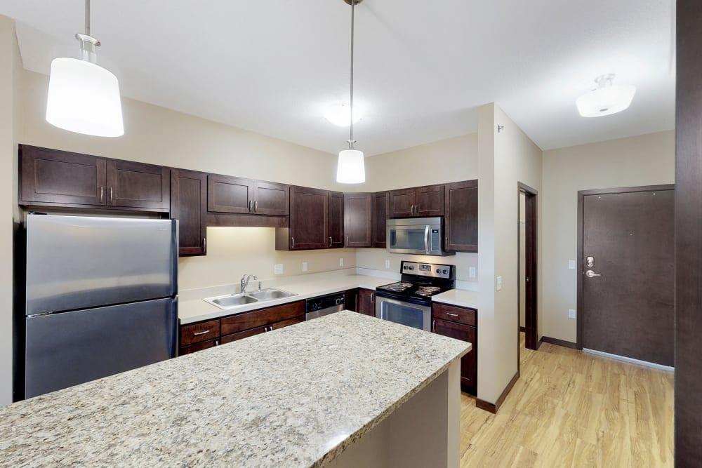 Modern kitchen at Oaks Station Place in Minneapolis, Minnesota