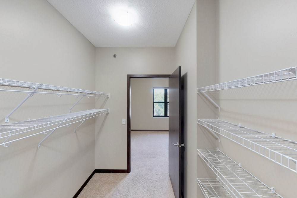 Large walk-in closet at Oaks Station Place in Minneapolis, Minnesota