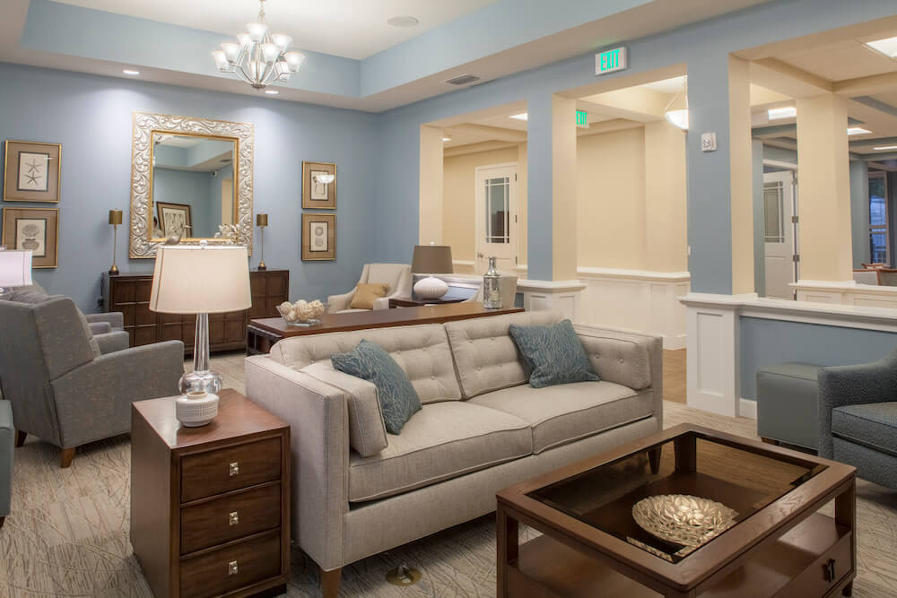 A community lounge for residents at San Jose Gardens Alzheimer's Special Care Center in Jacksonville, Florida