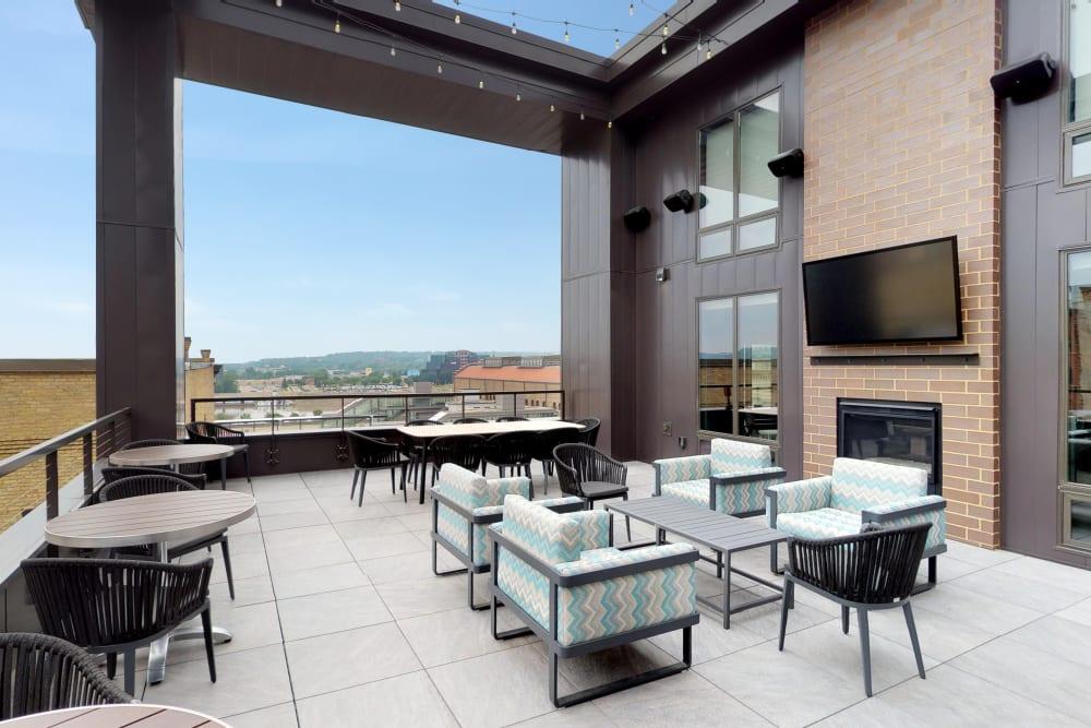 Rooftop lounge at Oaks Union Depot in St. Paul, Minnesota