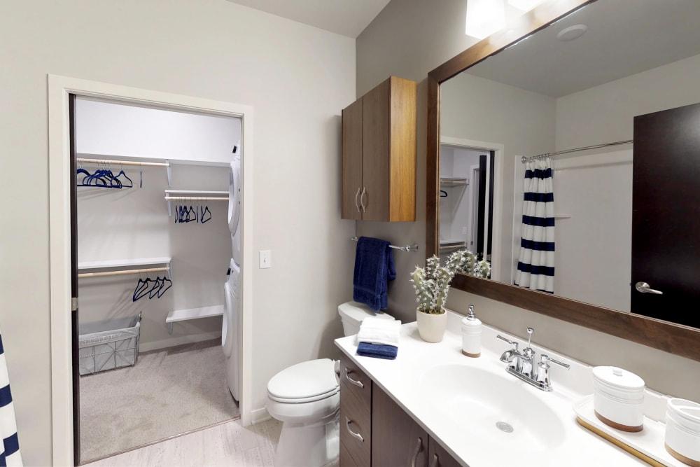 Bright bathroom at Oaks Union Depot in St. Paul, Minnesota