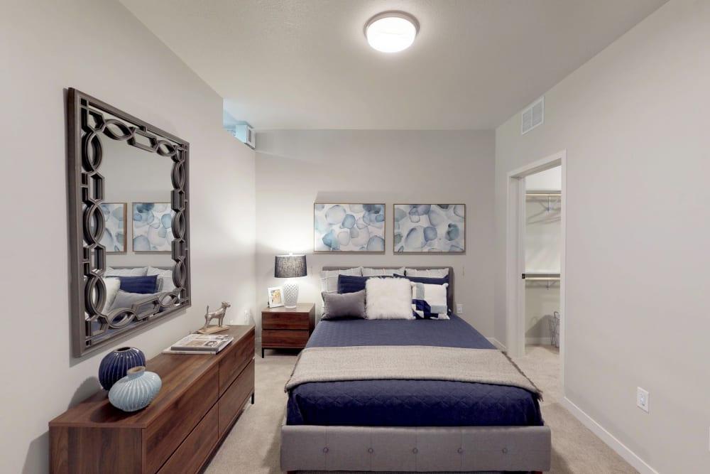 Cozy bedroom at Oaks Union Depot in St. Paul, Minnesota