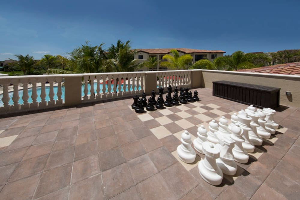 Outdoor oversized chess set at Doral View Apartments in Miami, Florida
