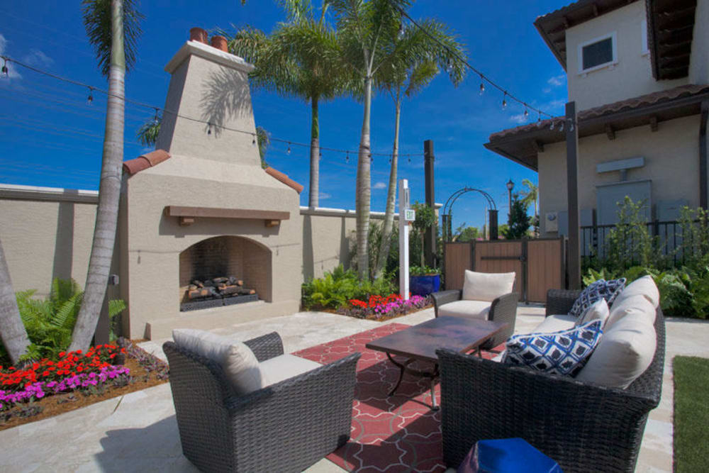 Outdoor fire pit at Doral View Apartments in Miami, Florida