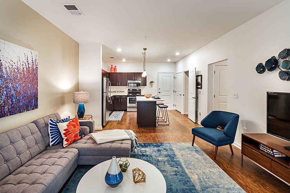 Cozy living room at apartments in Aliquippa, Pennsylvania