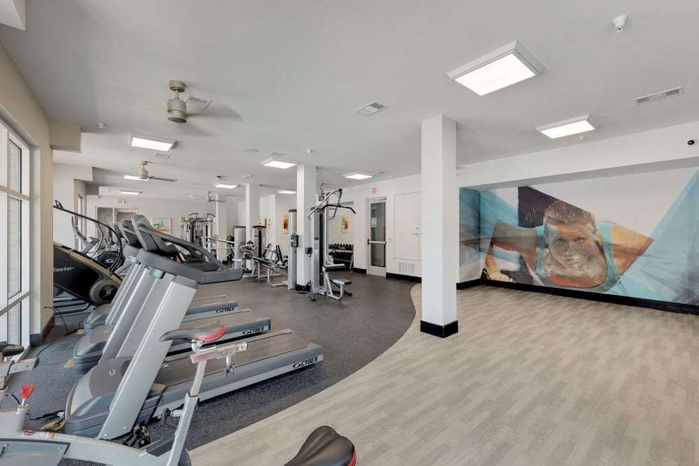 Fitness center for residents at 5th Street Crossing City Center in Garland, Texas