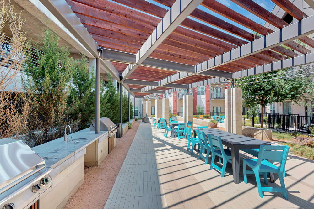 Outdoor patio in 5th Street Crossing City Center's courtyard in Garland, Texas