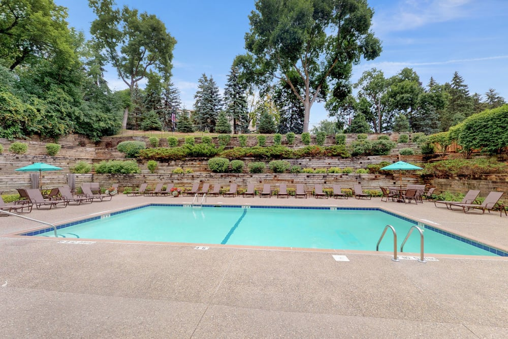 Sparkling swimming pool at Vernon Oaks in Edina, Minnesota