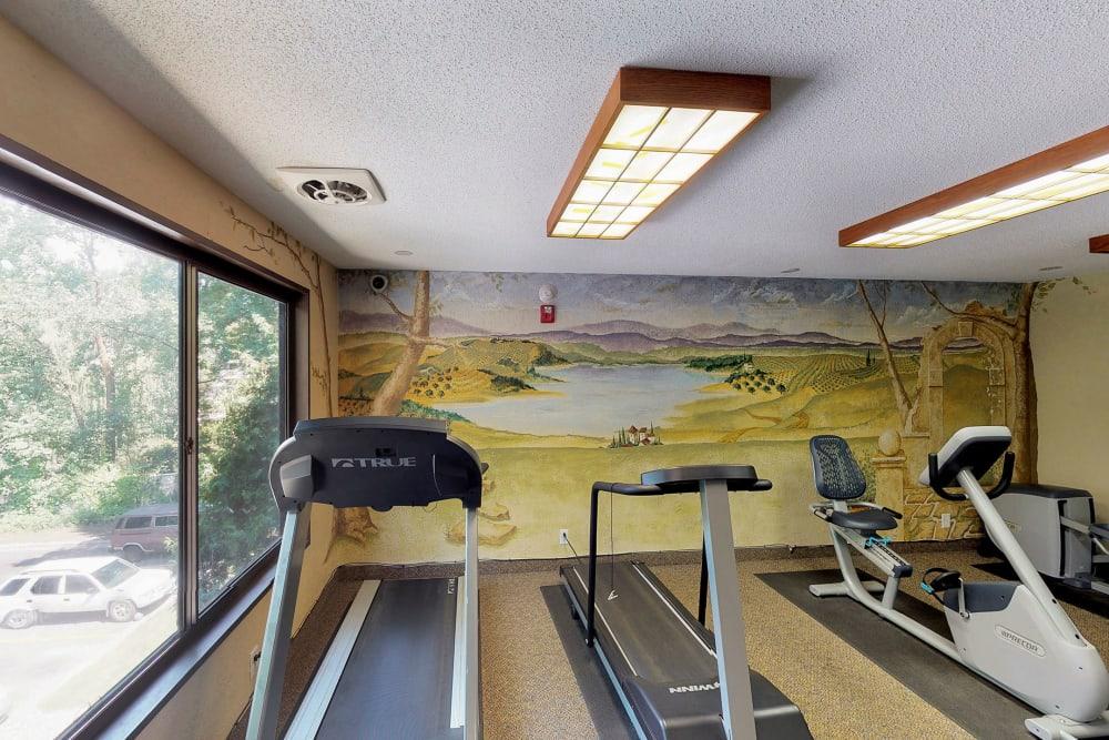 Modern fitness center at Oaks Braemar in Edina, Minnesota