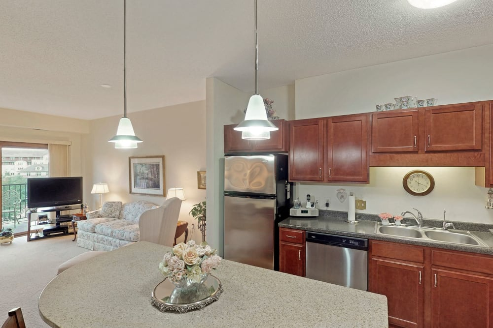 Spacious kitchen at Oaks Glen Lake in Minnetonka, Minnesota