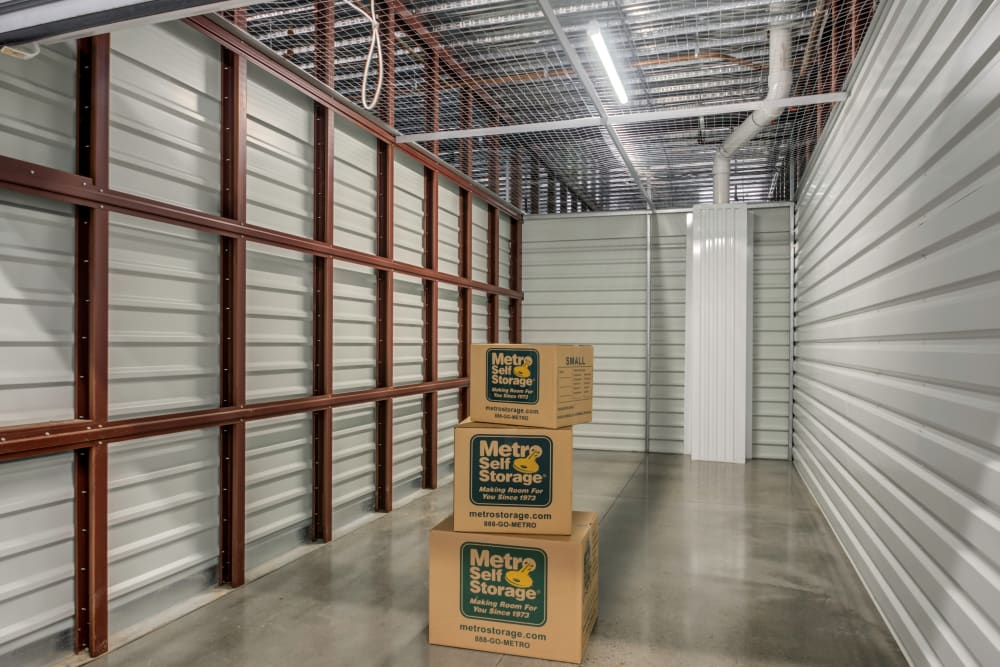 Boxes in a storage unit at Metro Self Storage in Westhampton Beach