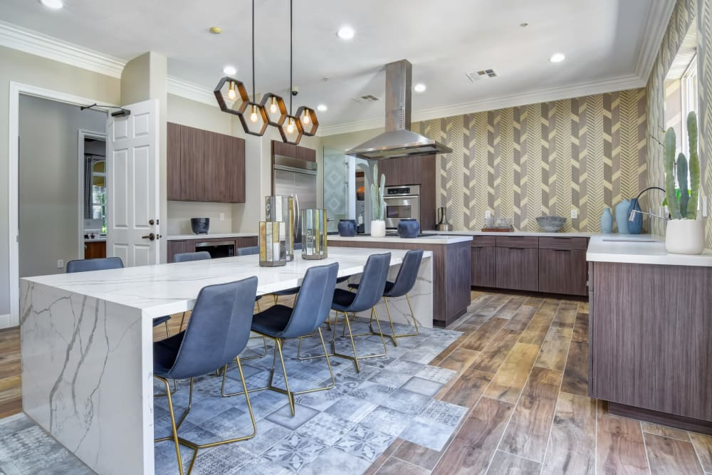 Community kitchen for entertaining in the resident clubhouse at Sofi Shadowridge in Vista, California