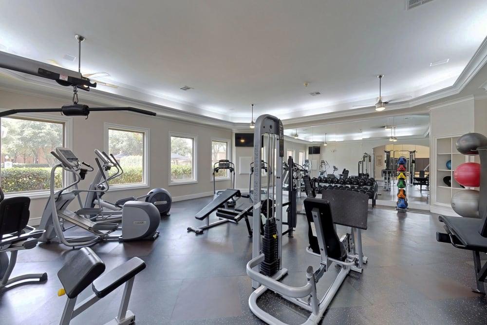 Modern fitness center at Oaks Riverchase in Coppell, Texas