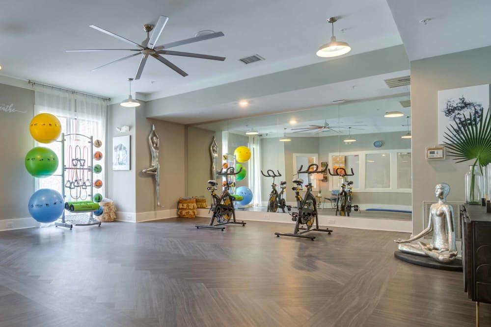 Community yoga room at Celsius in Charlotte, North Carolina