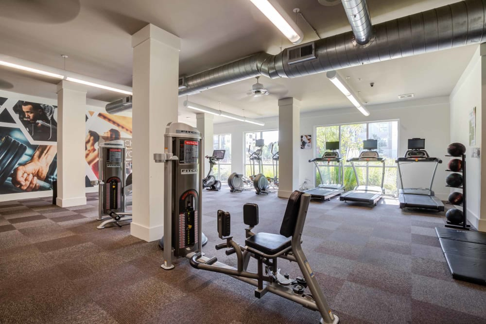 Well equipped fitness area at Celsius in Charlotte, North Carolina