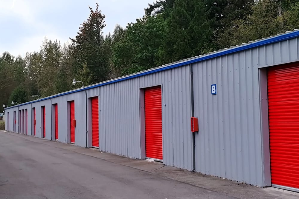 Outdoor units with large driveway access at Trojan Storage in Bothell, Washington
