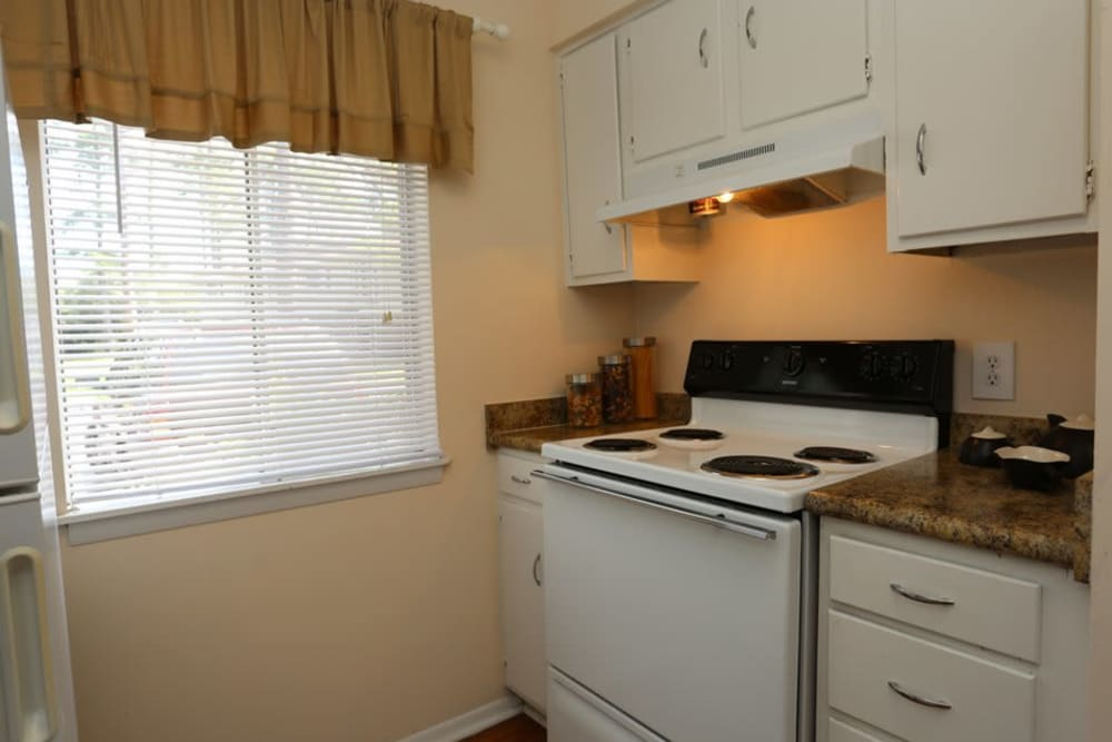 Plenty of cabinet space in an apartment kitchen at Reserve at Altama in Brunswick, Georgia