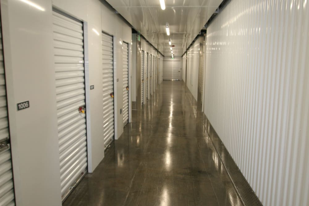 A bright hallway at Ballinger Heated Storage in Shoreline, Washington