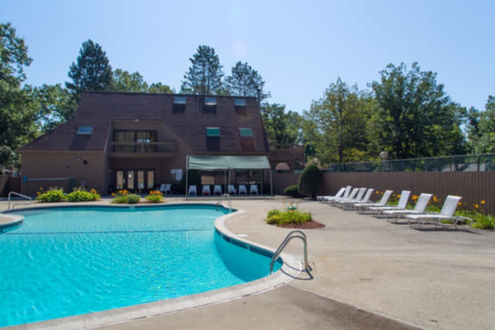 Resort-style swimming pool at London Court Apartments in Merrimack, New Hampshire