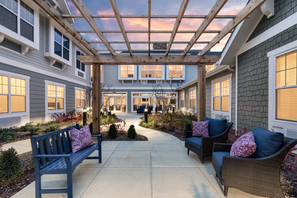 Outdoor seating at Anthology of Meridian Hills in Indianapolis, Indiana