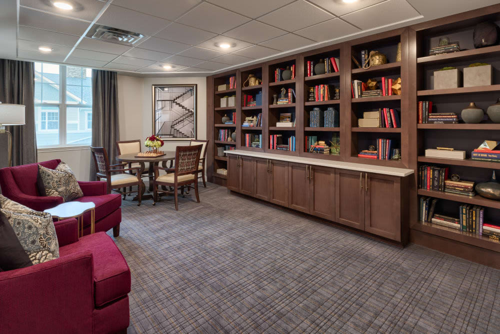 Resident library at Anthology of Meridian Hills in Indianapolis, Indiana