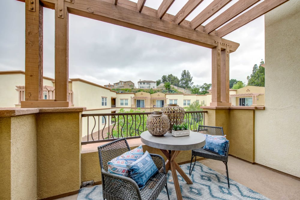 Apartments in Chatsworth, CA - Sofi at Topanga Canyon Balcony With Beautiful View and Patio Furniture