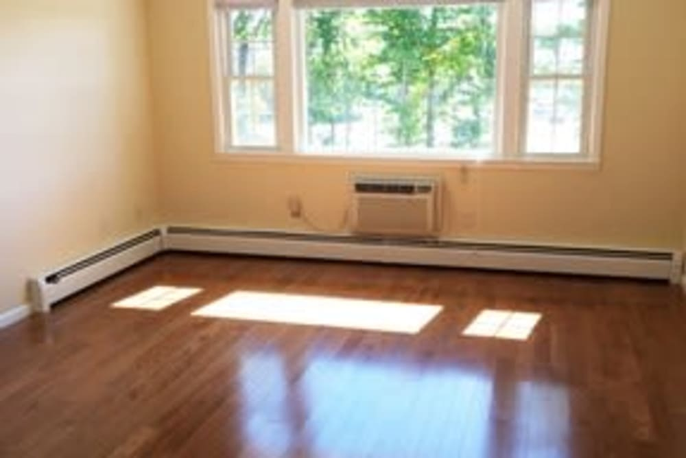 Living room with wood-style flooring at Hampton Arms Apartments in Hampton, New Hampshire