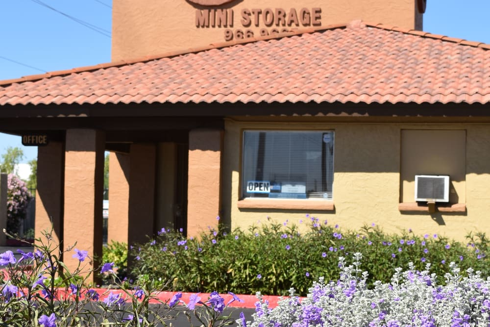 Front entry to AAA Alliance Self Storage in Tempe, Arizona