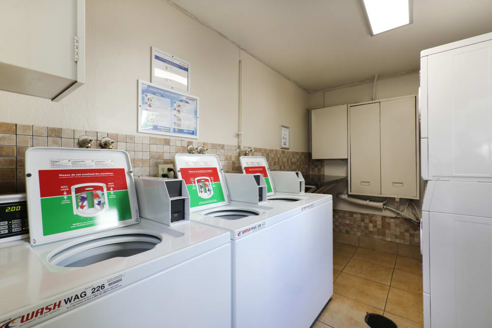 Modern machines for doing your laundry in the community facility at Sofi Redwood Park in Redwood City, California