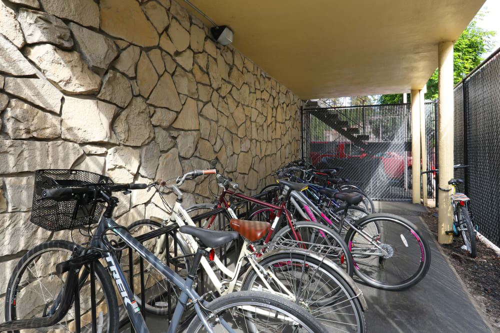 Bicycle storage at Sofi Redwood Park in Redwood City, California