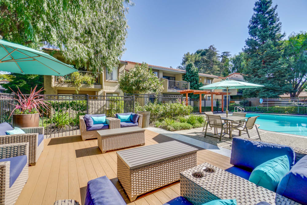 Poolside seating available at Terra Willow Glen in San Jose, California