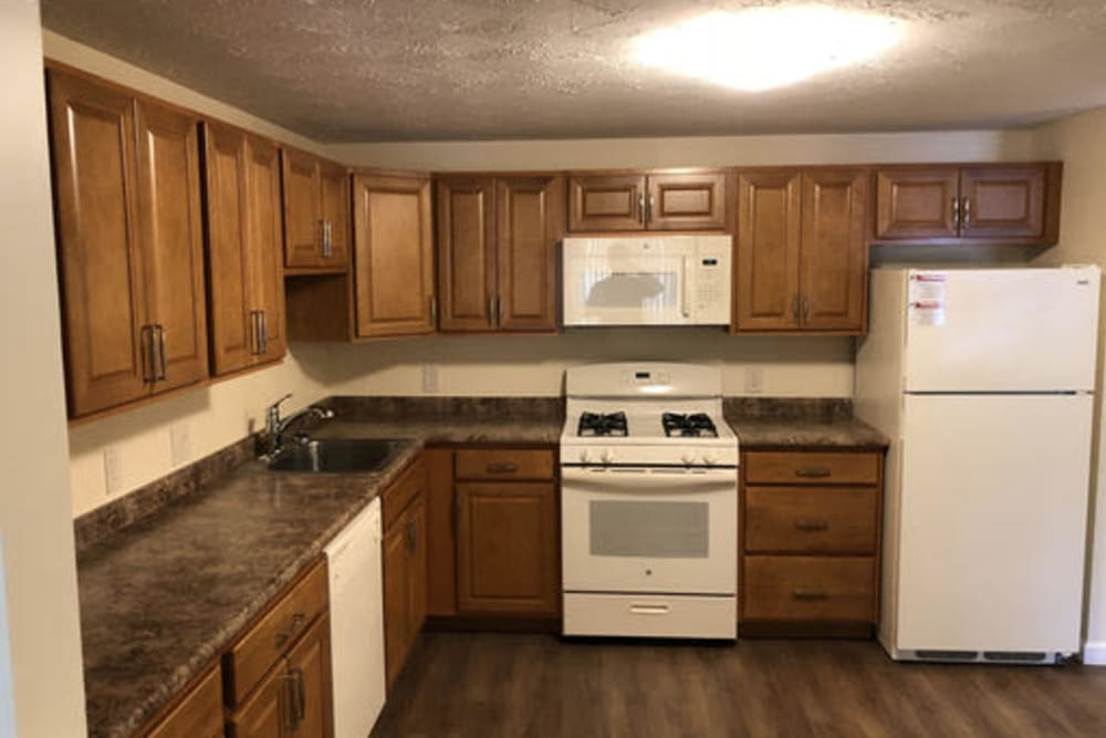 Fully equipped kitchen at Branch River Apartments in Raymond, New Hampshire