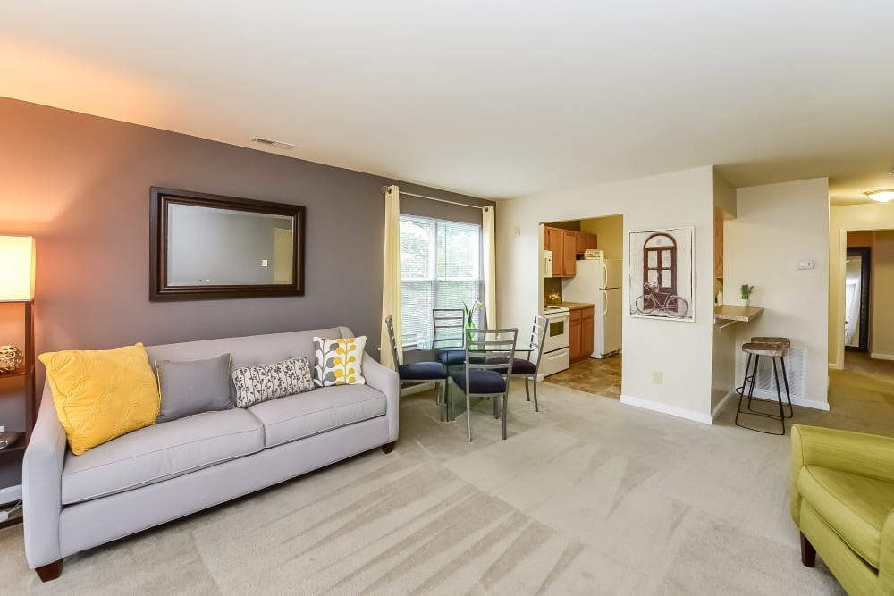Spacious Living Room at Fox Run Apartments & Townhomes in Bear, Delaware