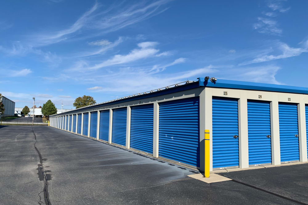 Exterior storage units at ElkRidge Storage in Jeffersonville, Indiana
