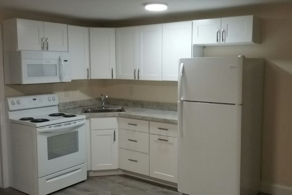 Newly renovated kitchen at Fox Park Apartments in Plymouth, New Hampshire