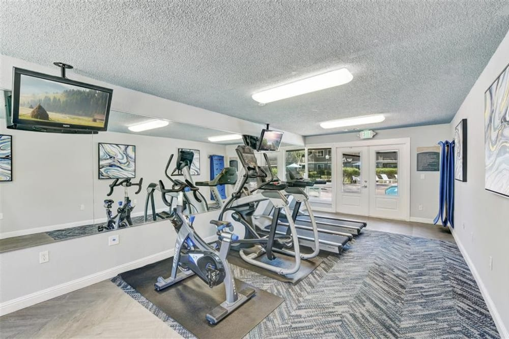 Cardio machines in the fitness center at Sofi Union City in Union City, California
