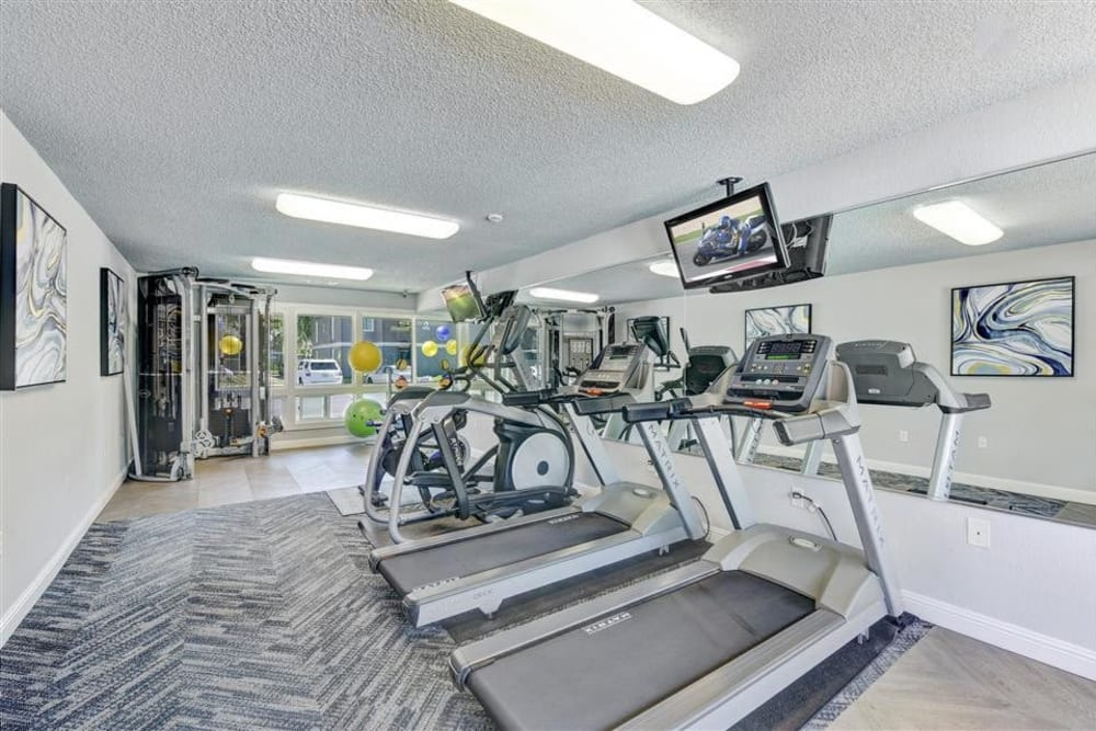 Well-equipped onsite fitness center at Sofi Union City in Union City, California