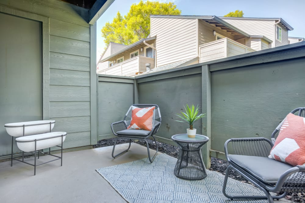 Private patio outside a model home at Sofi Union City in Union City, California