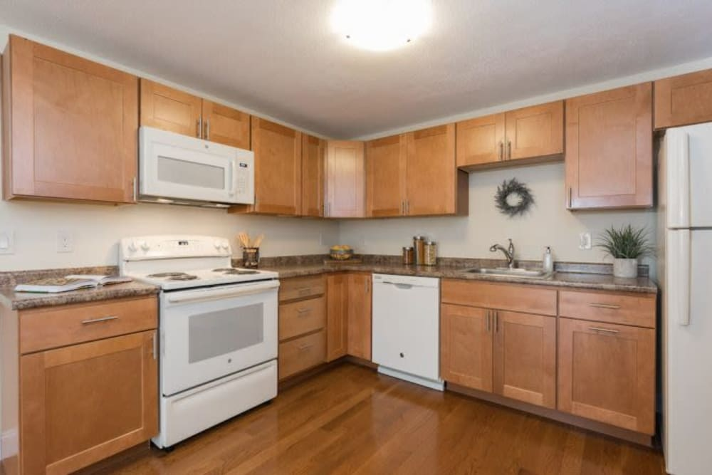 Fully equipped kitchen at Olde Hampton Village Apartments in Hampton, New Hampshire
