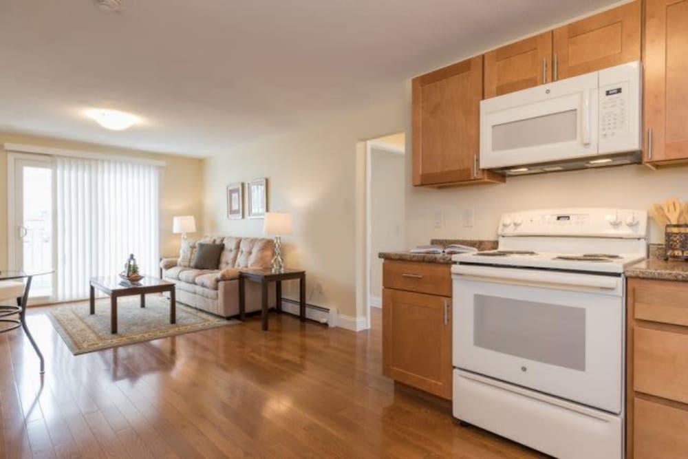 Bright, spacious kitchen at Olde Hampton Village Apartments in Hampton, New Hampshire